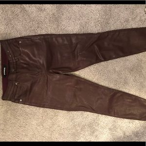Express burgundy pleather looking pants